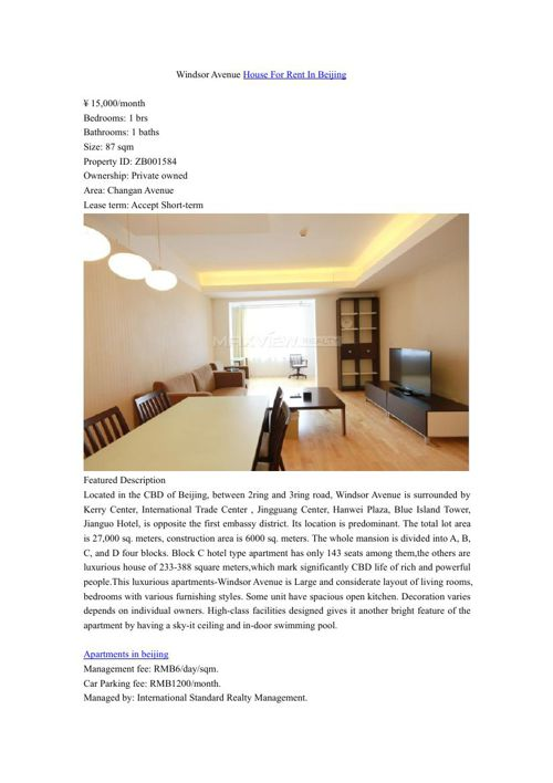 Windsor Avenue House For Rent In Beijing