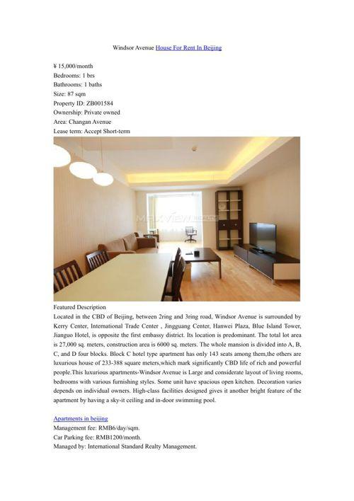 Windsor Avenue House For Rent In Beijing