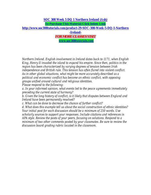 SOC 308 Week 5 DQ 1 Northern Ireland (Ash)
