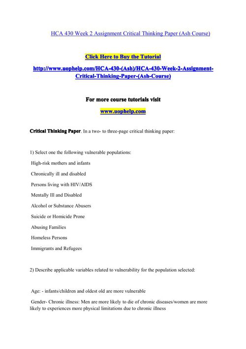 HCA 430 Academic Coach/uophelp