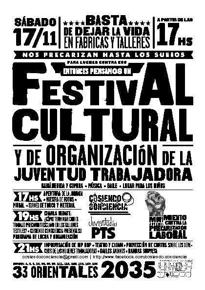 Cosiendo Conciencia FESTIVAL CULTURAL Y DE ORGANIZACIÓN DE LA JT