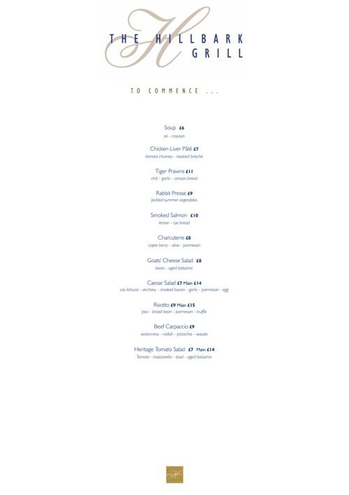 Grill summer menus 2013