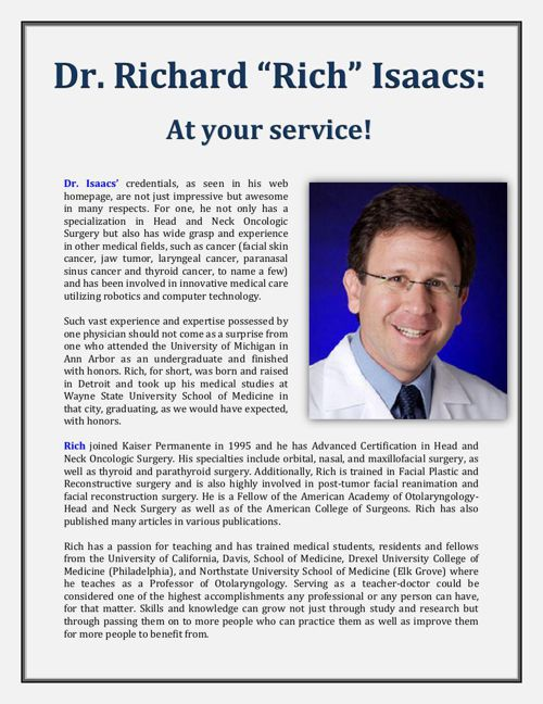 "At your service! - Dr. Richard ""Rich"" Isaacs"