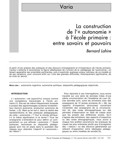 De la construction de l'autonomie à l'école primaire