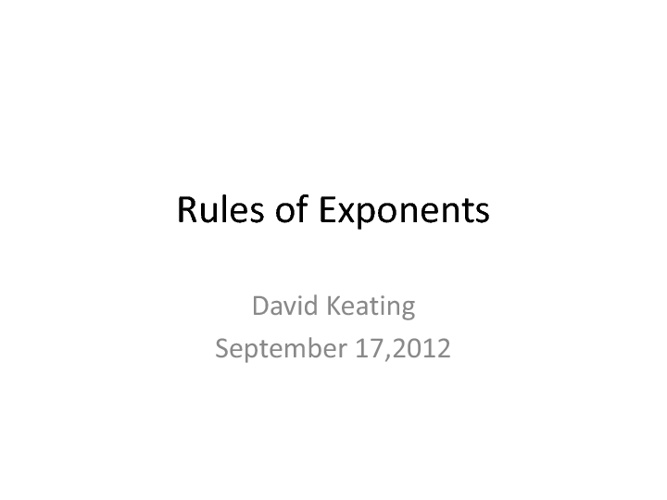 Exponential Rules