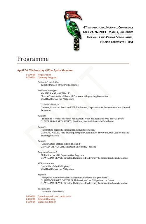 6th International Hornbill Conference - Program of Activities