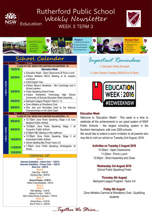Rutherford Public School Term 3 Week 3 2016 Newsletter