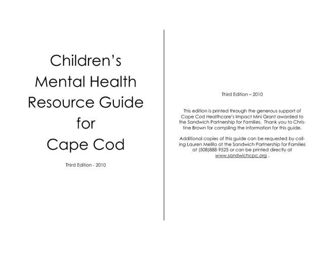 Childrens Mental Health Resource Guide Third Edition