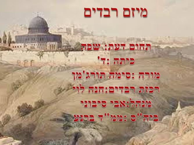 ירושלים שמות רבים לה -מיזם רבדים