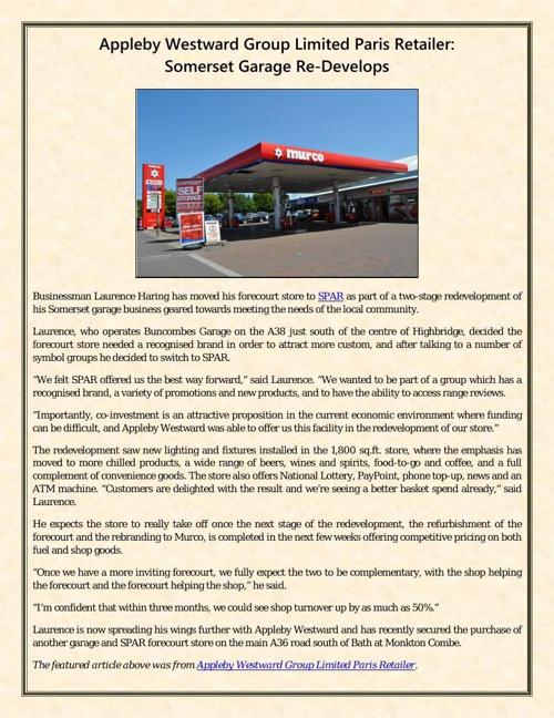 Appleby Westward Group Limited Paris Retailer