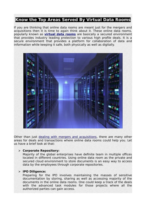 Know the Top Areas Served By Virtual Data Rooms