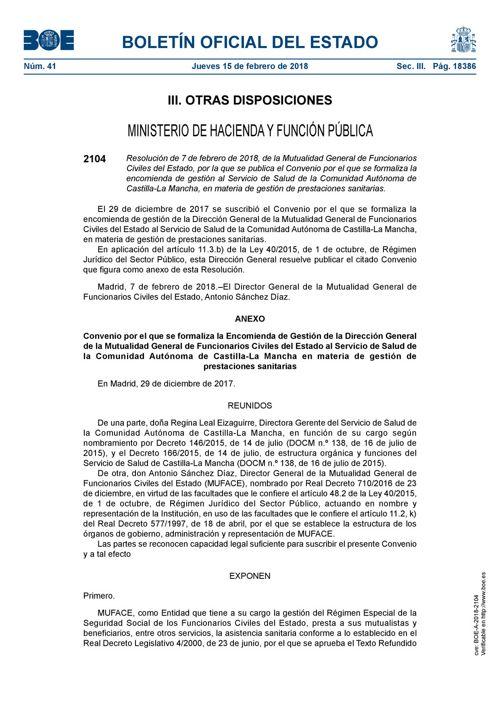 180215 BOE-Resolución 07 02 18 Convenio MUFACE y SESCAM