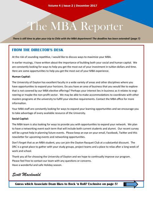 MBA Newsletter December 2017