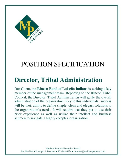 Rincon Dir. Tribal Admin. - Valley Center, CA