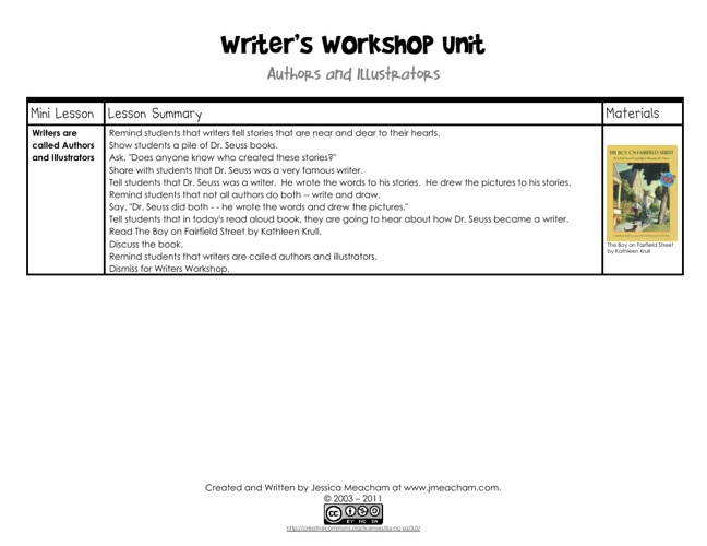 Writer's Workshop~ Authors and Illustrators