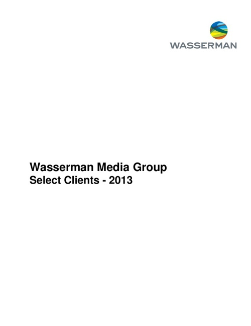 Wasserman Media Group Clients - 2013
