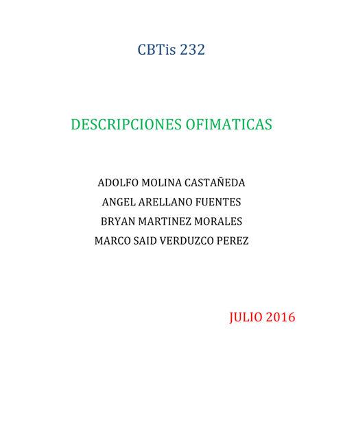 DESCRIPCIONES OFIMATICAS