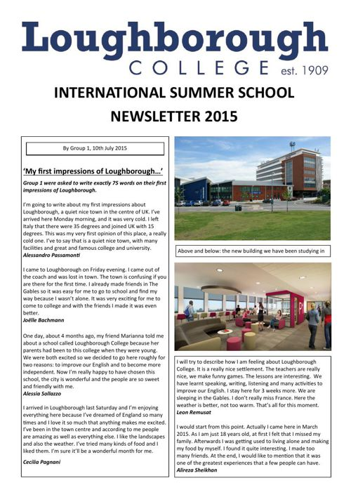 Loughborough Sixth Form College Summer School Newsletter