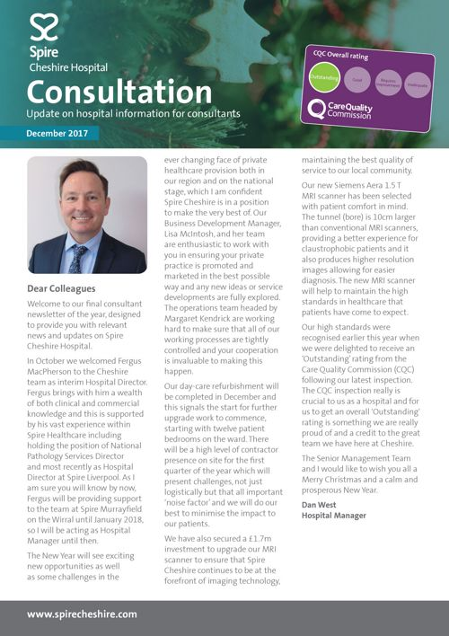 Spire Cheshire Hospital consultant newsletter