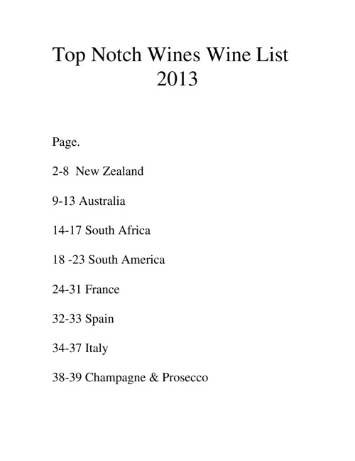 Top Notch Wine List 2013