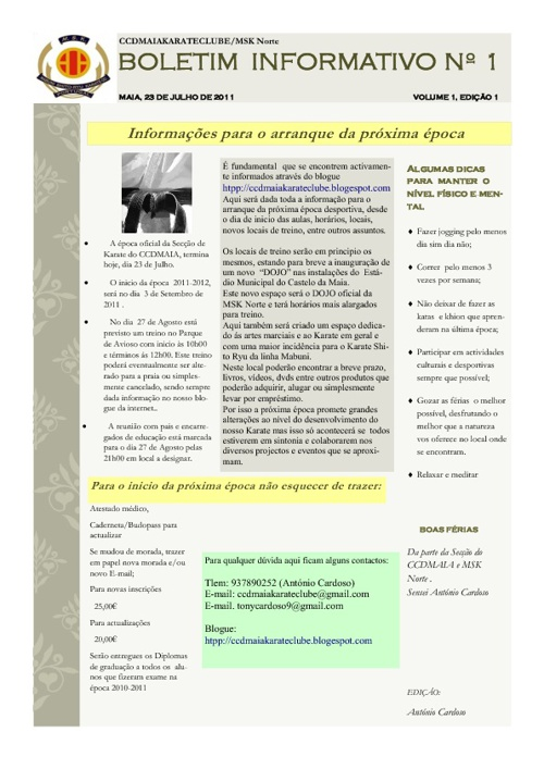 Planeamento do CCDMAIA Karate Clube - 2011/2012