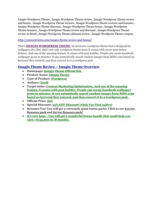 Imagio Wordpress Theme Review & Imagio Wordpress Theme $16,700 b