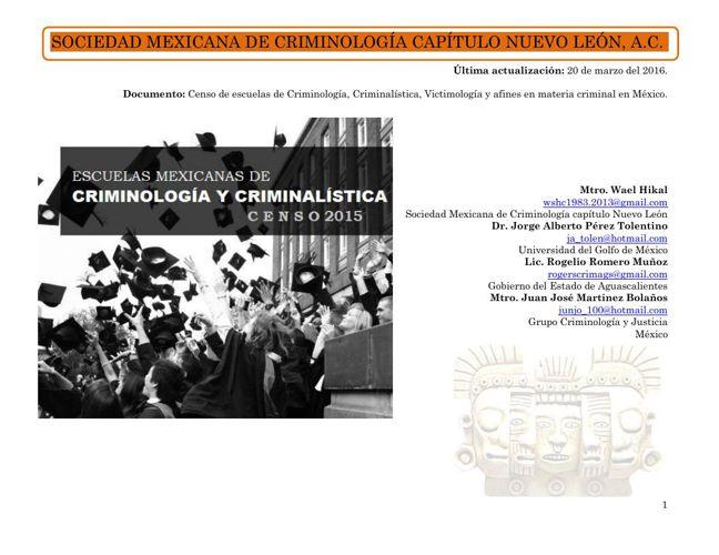 Censo de escuelas en materia criminal en México