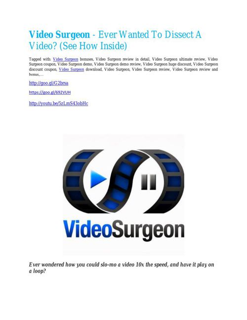 Video Surgeon Review-TRUST about Video Surgeon and 80% discount