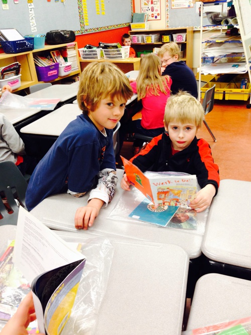 Buddy Reading with Grade 1 Class