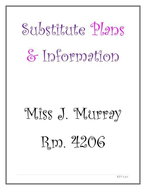 Sub Plans 2014-15