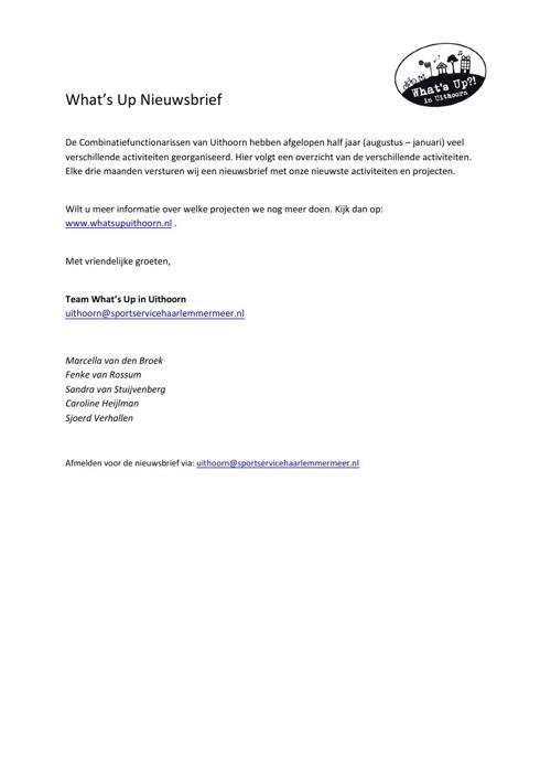 What's Up in Uithoorn nieuwsbrief