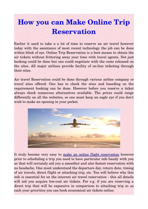 How you can Make Online Trip Reservation