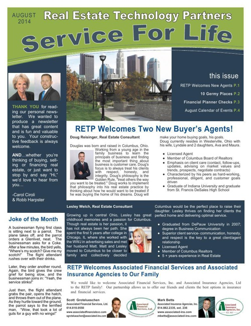 Real Estate Technology Partners - Service For Life > August, 201
