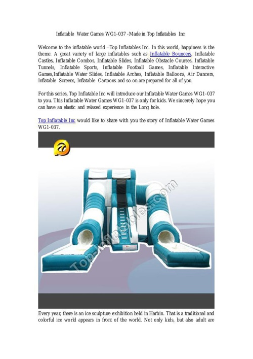 Top Inflatables Inc--Inflatable Water Games WG1-037 14-12-22