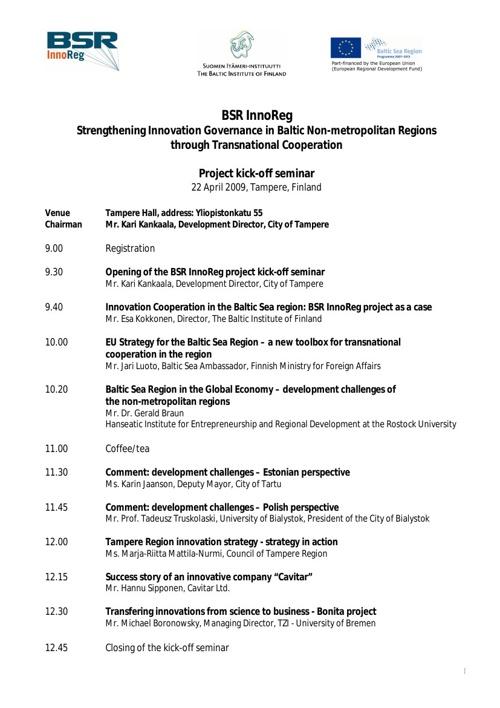 BSR InnoReg kickoff seminar programme