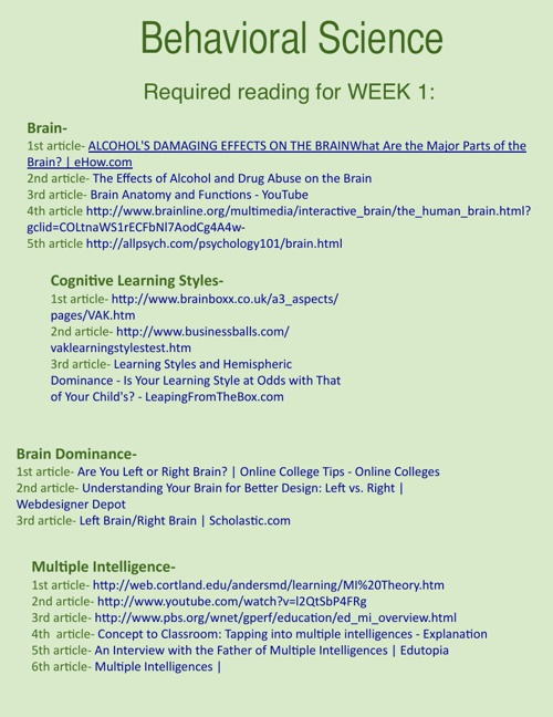 Behavioral Science Weekly Readings