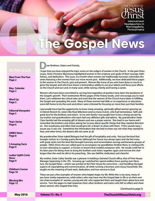 Gospel News May 2016