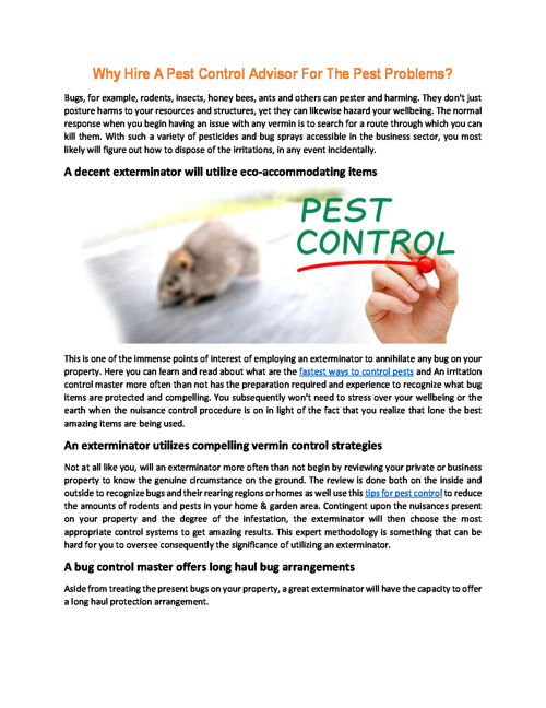 Why Hire A Pest Control Advisor For The Pest Problems