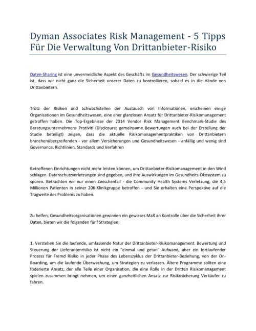 Dyman Associates Risk Management - 5 Tipps Für Die Verwaltung Vo