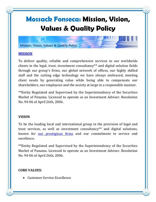 Mossack Fonseca: Mission, Vision, Values & Quality Policy