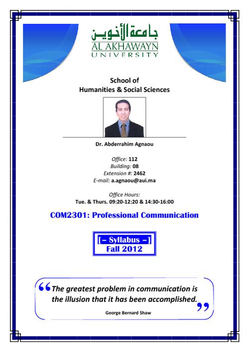 COM2301 Syllabus