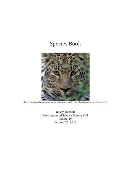 Species Book- Kasey M.