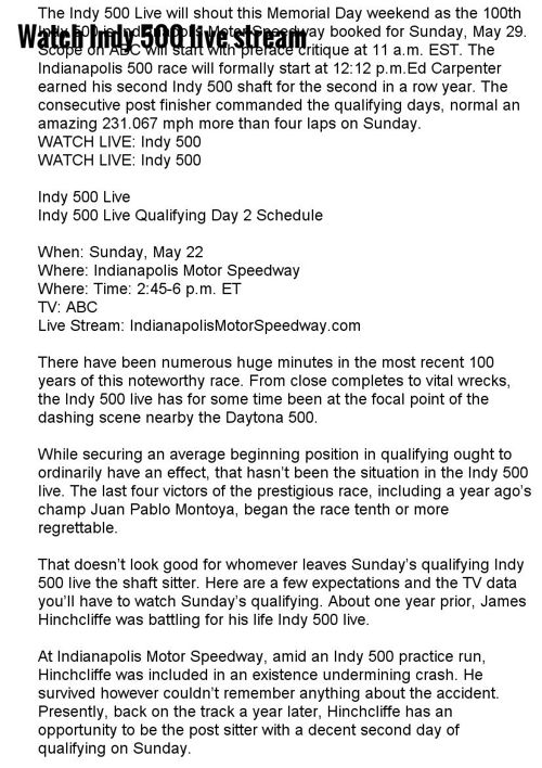 Watch Indy 500 live stream