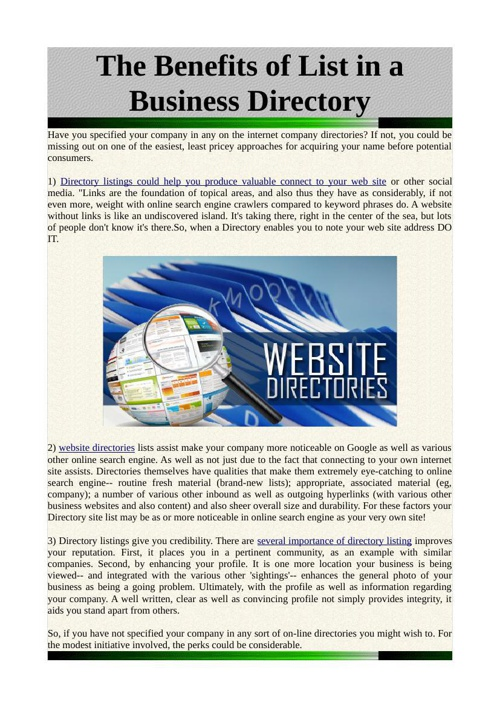 The Benefits of List in a Business Directory