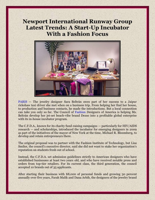 Newport International Runway Group Latest Trends - A Start-Up In