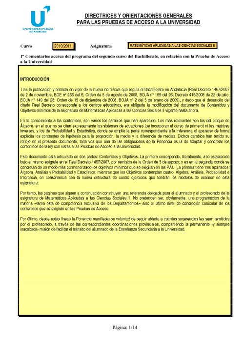 Directrices y orientaciones para la PAU de Matemáticas Aplicadas