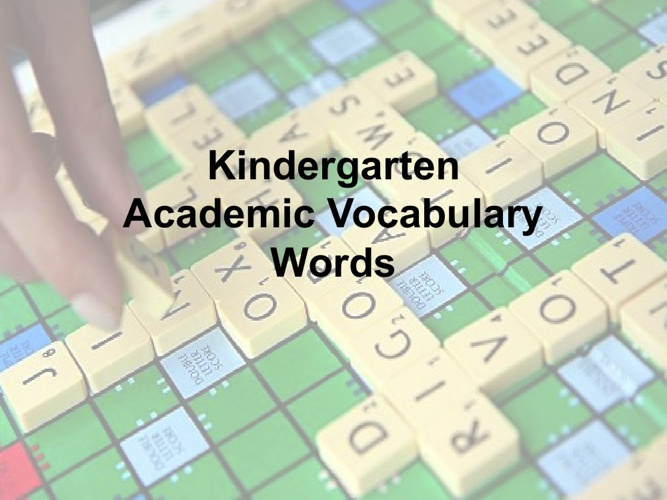 Kindergarten Academic Vocabulary