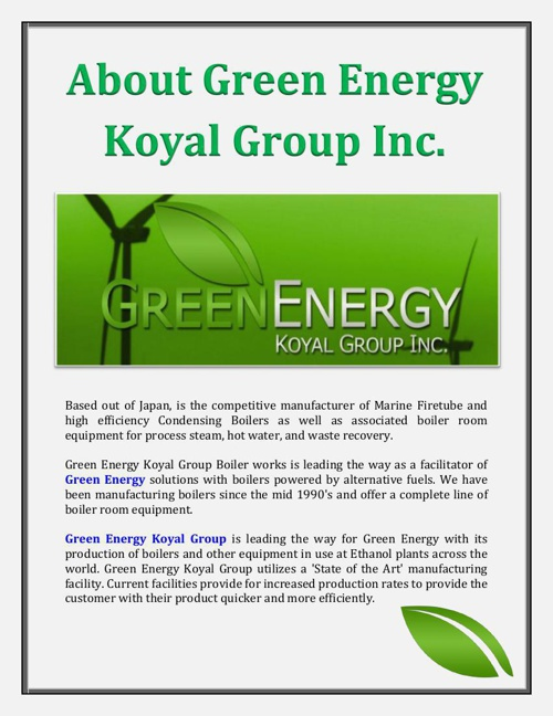 About Green Energy Koyal Group Inc