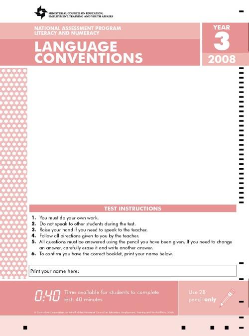 2008 NAPLAN Year 3 Language Conventions