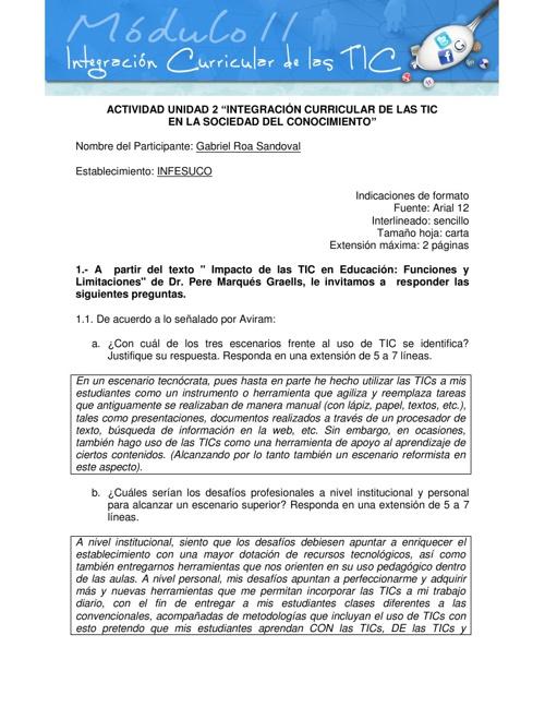"""Unidad 2: """"Integración Curricular de las TICs"""""""